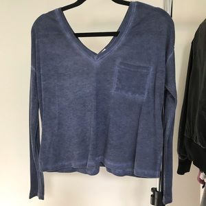 Urban outfitters blue v-neck long sleeve top